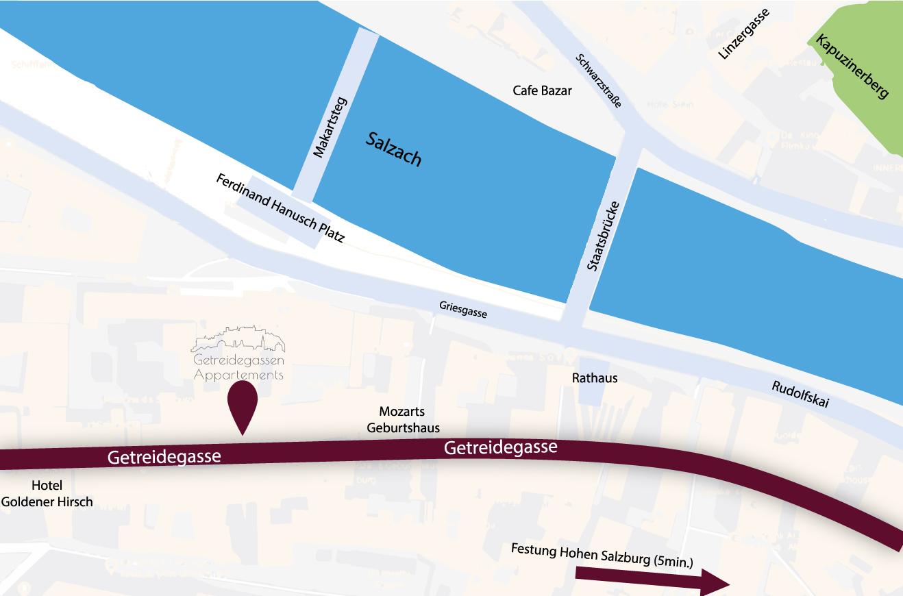 Lageplan Appartements Getreidegasse Salzburg